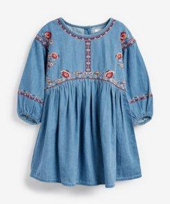 Next Kleid mit Stickereien blau