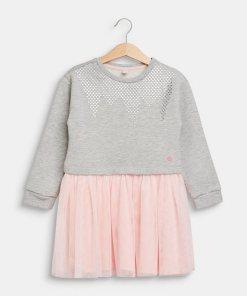 Esprit Sweat-Kleid mit Tüll-Rock silberfarben