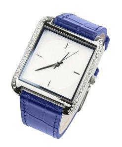 Heine Armbanduhr in Krokoprägung blau