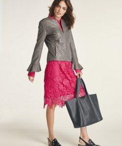 heine STYLE Spitzenkleid mit Hemdblusenkragen rot