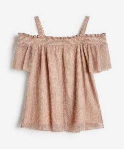 Next Schulterfreie Metallic-Bluse rosa