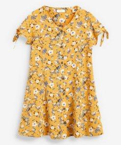 Next Geknöpftes Kleid mit gebundenen Ärmeln gelb