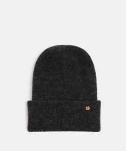 Esprit Alpaka-Mix mit Wolle: Mütze mit Umschlag grau