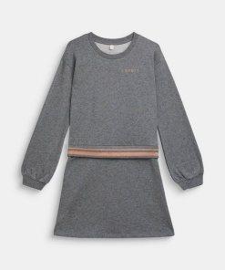 Esprit Sweat-Kleid mit Glitter-Bündchen  100% Baumwolle grau