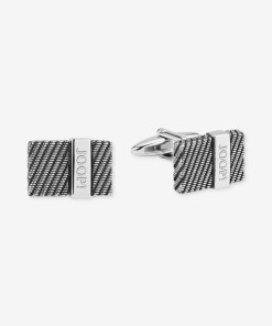 Manschettenknöpfe in Silber/Schwarz silber/schwarz