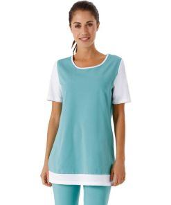 Longshirt mit kontrastfarbiger Blende am Saum
