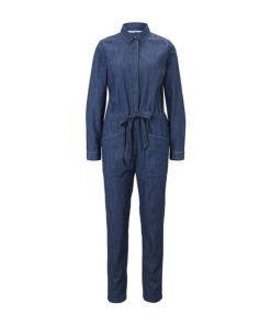 TOM TAILOR Damen Utility Jeans-Jumpsuit, braun, unifarben, Gr.36