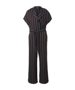 TOM TAILOR MINE TO FIVE Damen Gestreifter Jumpsuit mit Bindegürtel, blau, Gr.36