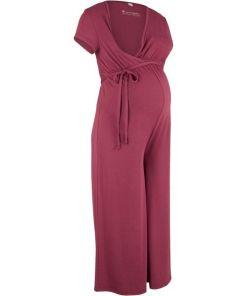 Jersey-Umstands-Jumpsuit / Jersey-Still-Jumpsuit kurzer Arm lila bonprix