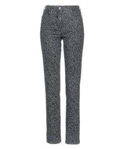 Avena Damen Stretch-Jeans Grau geblümt