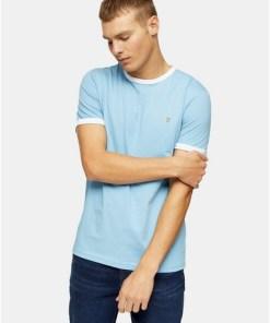 BLAUKurzärmeliges Farah 'Groves' T-Shirt im Ringer-Style, BLAU