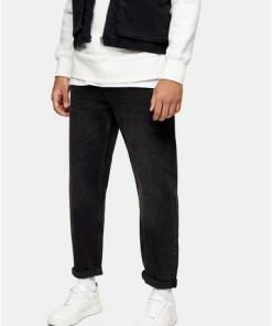 Lässige Jeans, verwaschenes Schwarz, SCHWARZ