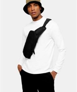 Langarm-T-Shirt mit Halbrollkragen, weiß, WEIß