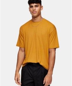 Geschmeidiges geripptes T-Shirt, braun, BRAUN