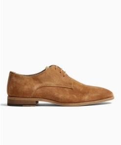 BRAUNDerby-Schuhe aus echtem Wildleder, beige, BRAUN