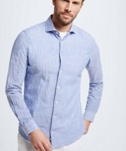 Baumwoll-Leinen-Hemd Sereno, blau/weiß gestreift