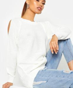 Womens Cold-Shoulder-Pulloverkleid Im Perlmuster - Creme - L, Creme