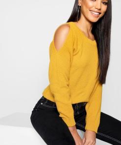 Womens Cold-Shoulder-Pulloverkleid Im Perlmuster - Senfgelb - M, Senfgelb