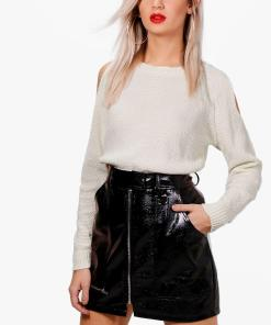 Womens Cold-Shoulder-Pulloverkleid Im Perlmuster - Steingrau - S, Steingrau