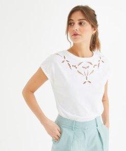 Besticktes Ajour T-Shirt