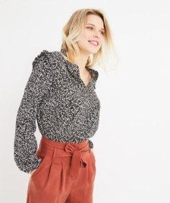 Kreppstoff-Bluse mit Volants