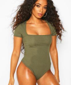 Womens Petite Body Mit Karree-Ausschnitt - Khaki - 30, Khaki