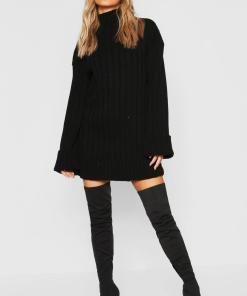 Womens Petite Oversized Pulloverkleid Aus Rippstrick - Schwarz - S/M, Schwarz