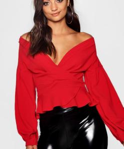 Womens Tall Schulterfreie Bluse - Rot - 40, Rot