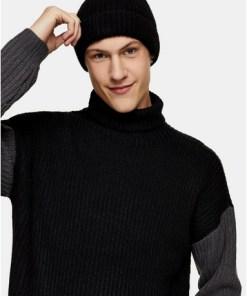 Mütze aus Lammwolle, schwarz, SCHWARZ