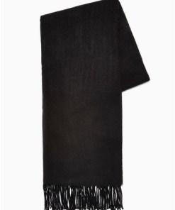 Gewebter Schal, schwarz, SCHWARZ