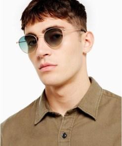 Sonnenbrille mit rundem Metallrahmen, gold, GOLD
