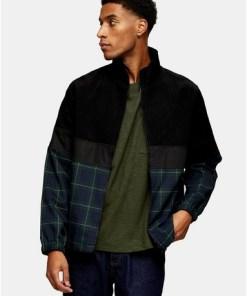 Harrington-Jacke mit Karomuster, grün und schwarz, SCHWARZ