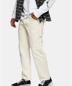 Carpenter-Jeans mit weitem Beinschnitt, cremeweiß, CREME