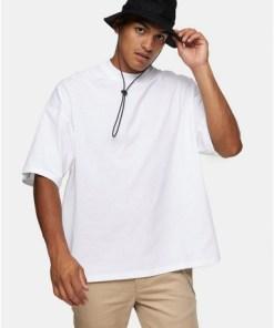 CREMEOversized-T-Shirt mit Rollkragen, ecrufarben, CREME