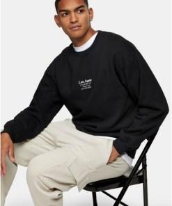 Sweatshirt mit klassischem 'L.A.'-Print, schwarz, SCHWARZ