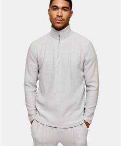 Sweatshirt mit Fischgrätmuster und Trichterkragen, grau, GRAU