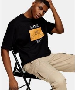Sweatshirt mit skizziertem Handprint, schwarz, SCHWARZ