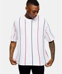 Piqué-T-Shirt in Boxy-Passform, rot, weiß und blau, WEIß
