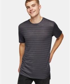 T-Shirt mit Streifendesign aus Netzstoff, anthrazit und grau, GRAU