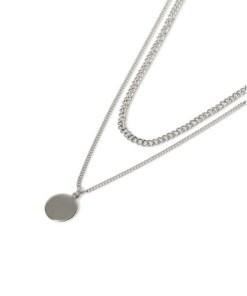 Mehrlagige Halskette mit Scheibenanhänger, silber, SILBER