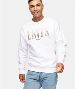 LEVI'S Sweatshirt mit Logo, weiß, WEIß
