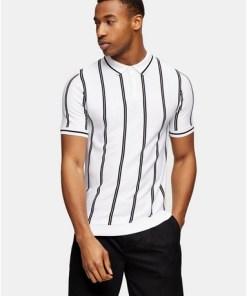 Polohemd mit Knopfleiste und Streifen, schwarz und weiß, WEIß