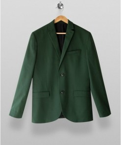 GRÜNGreen Skinny Single Breasted Suit Blazer With Notch Lapels, GRÜN