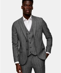 GRAUGrey Herringbone Single Breasted Skinny Suit Blazer With Peak Lapels, GRAU