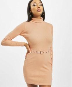 Missguided Frauen Kleid Roll Neck Belted Longsleeve Mini in orange