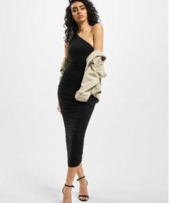 Missguided Frauen Kleid Slinky Ruched One Shoulder in schwarz