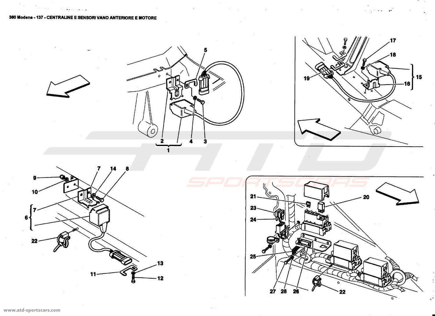 Ferrari 360 Modena Front And Motor Compartments Electrical Boards And Sensor Parts At Atd