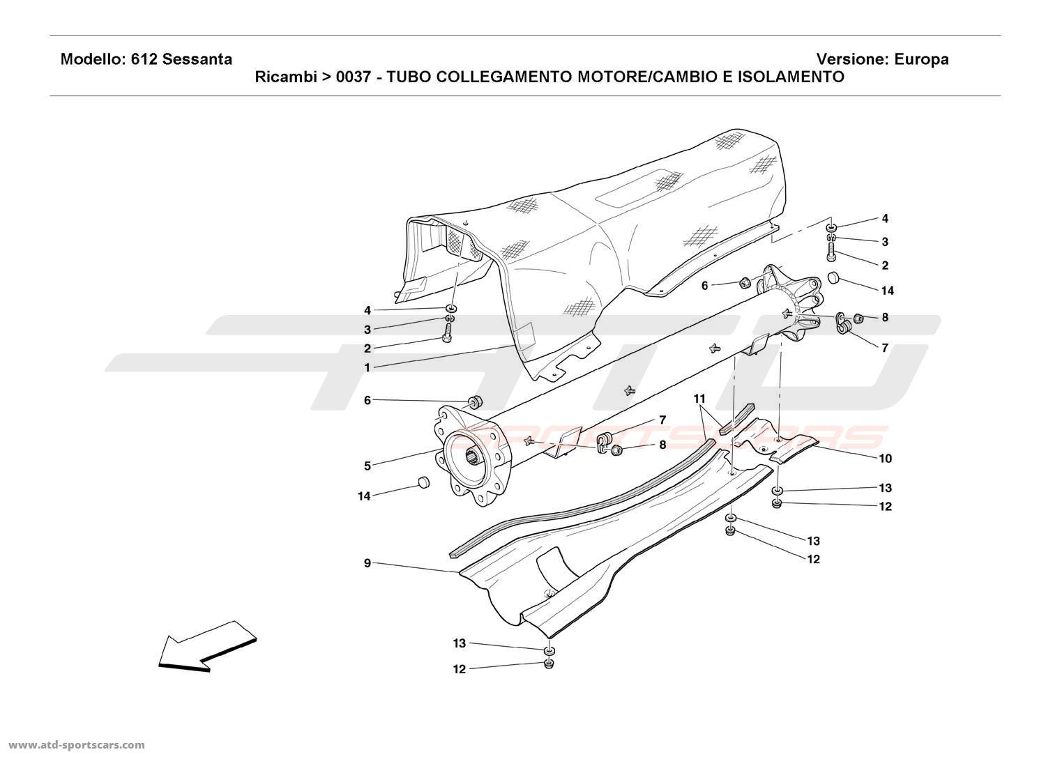 Ferrari 612 Sessanta Engine Gearbox Connecting Tube And