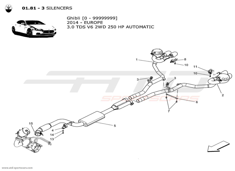 Maserati Ghibli V6 3 0lsel Auto Exhaust System