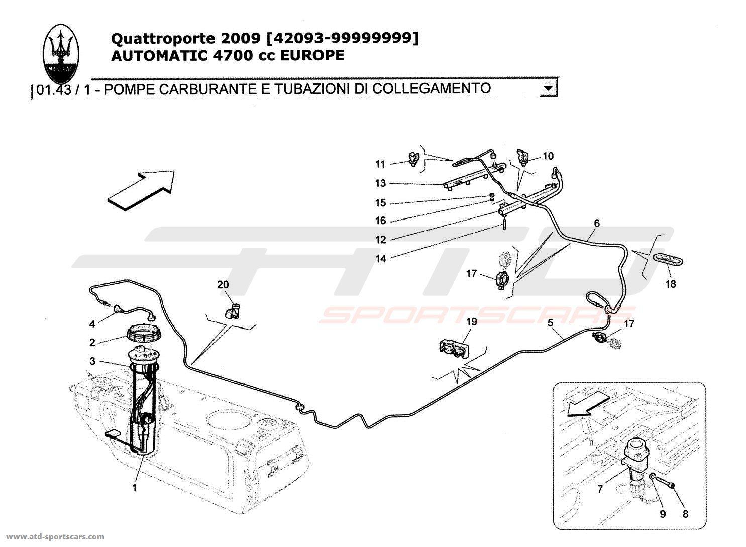 Maserati Quattroporte 4 7l Boite Auto Fuel Pumps And Connection Lines Parts At Atd